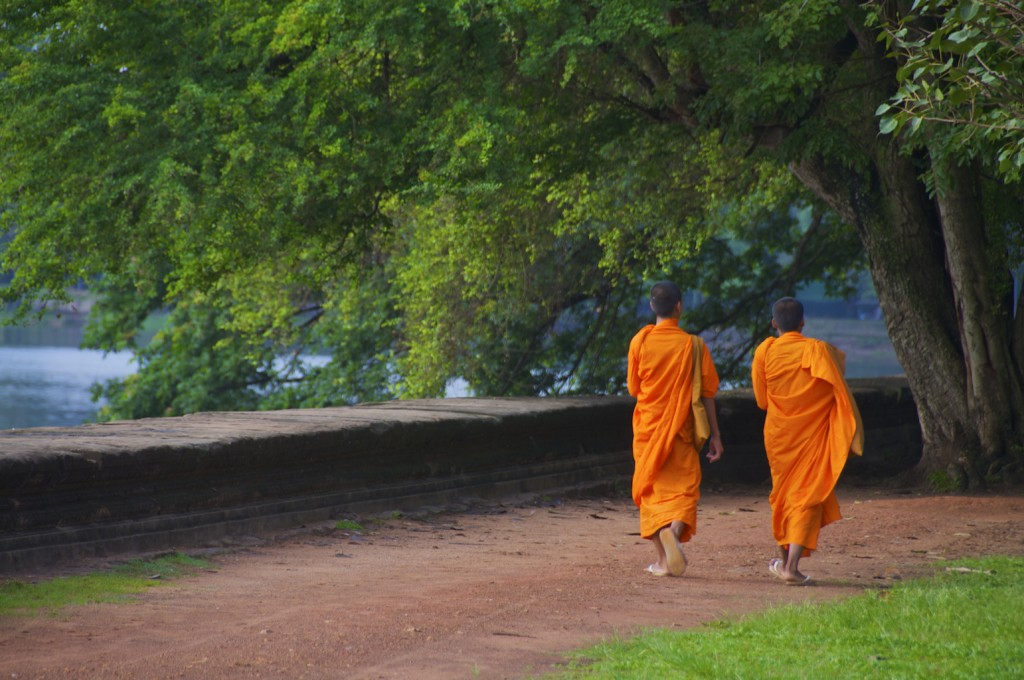 Young Buddhist monks near Angkor Wat