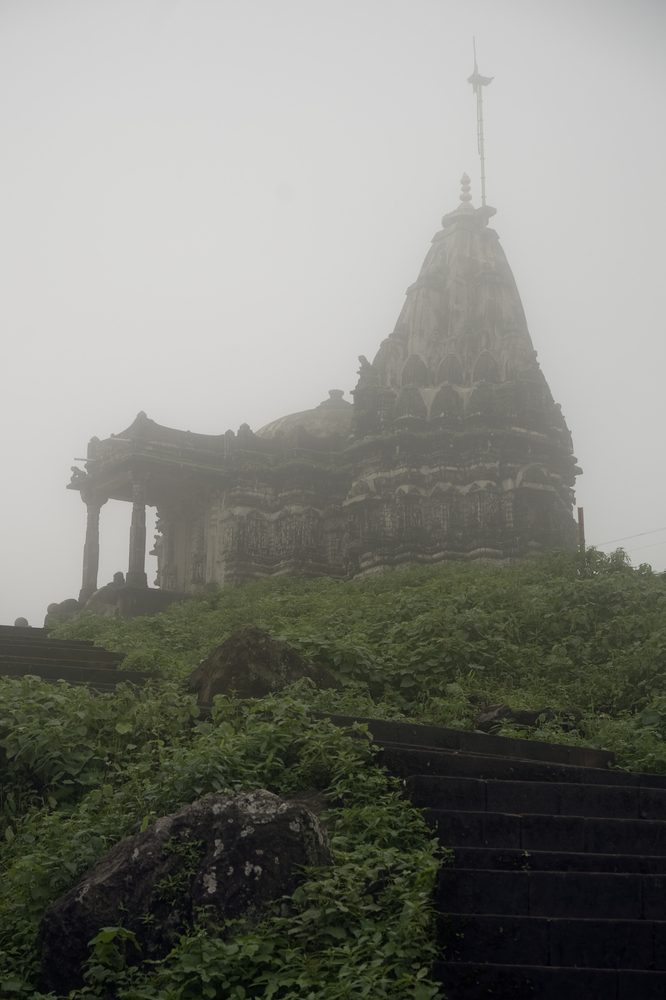 Kalika Mata Temple covered in mist