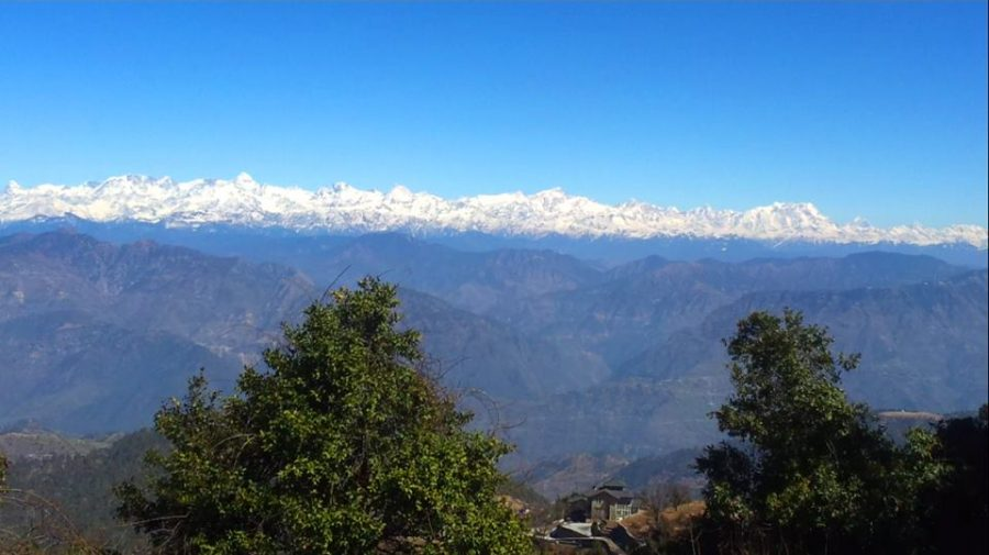 View of snow-capped Himalayas from Kanatal