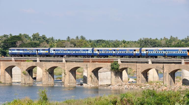 Train over a bridge in Srirangapatna