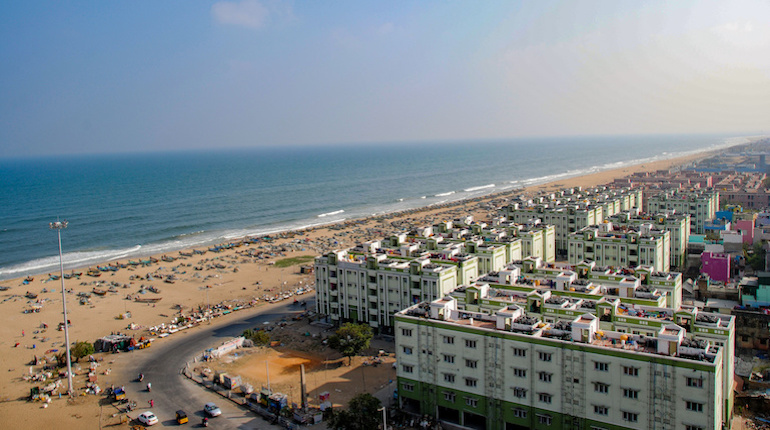View from the lighthouse over Chennai and Marina Beach, India