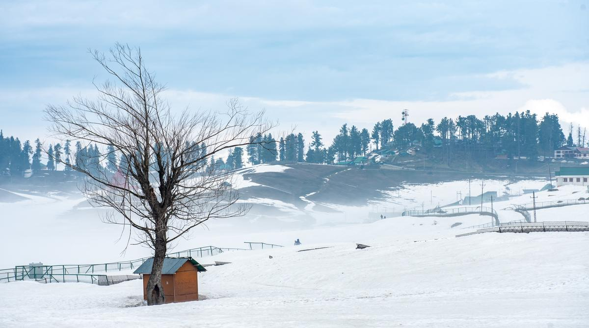 Landscape of snow mountain at Gulmarg, Jammu and Kashmir, India.