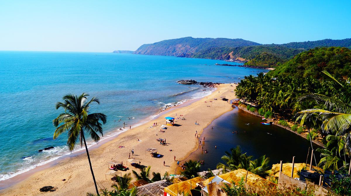 One of the best beaches in Goa - Cola beach. Quiet place for relax and spend holidays. Beach huts on the coast. Luxury holidays.
