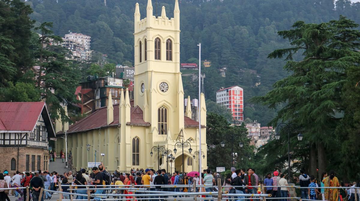 Christ Church on a sunny day, Shimla. The Church is designed in the neo-Gothic style and is the second oldest church in North India.