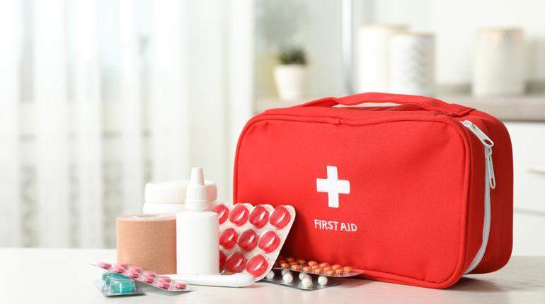 A compact first aid kit
