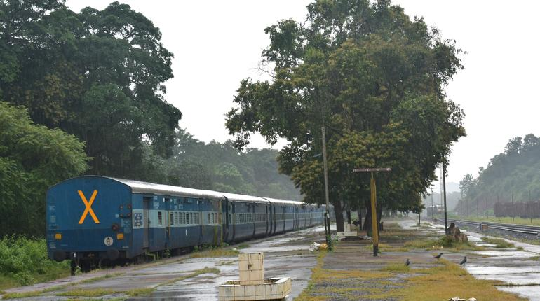 A indian railway train waiting to depart from kulem station in Goa