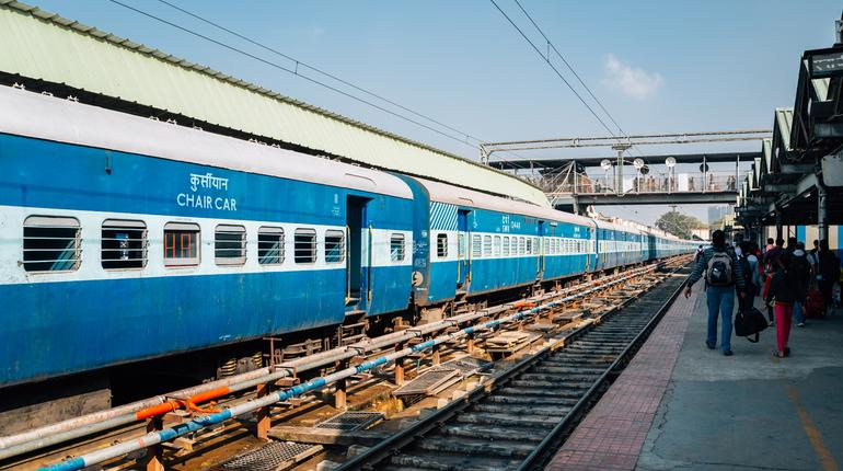 Bangalore, India - January 1, 2018 : Bengaluru City Junction Railway Station platform