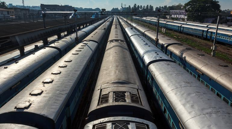 Trains at train station. Trivandrum, Kerala, India