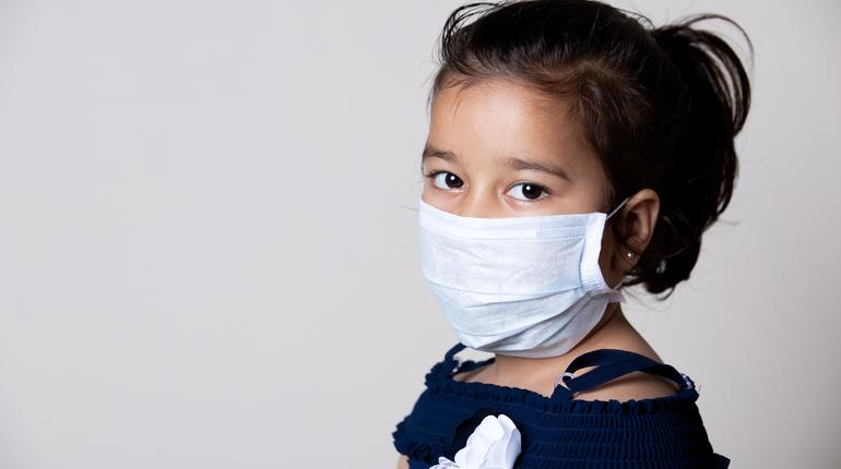 Girl Child  Face Covered with Mask at home to prevent from the Spread of Corona virus Infection.