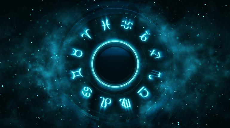 Astrological system with zodiac symbols and particles around. Horoscope background digital illustration.