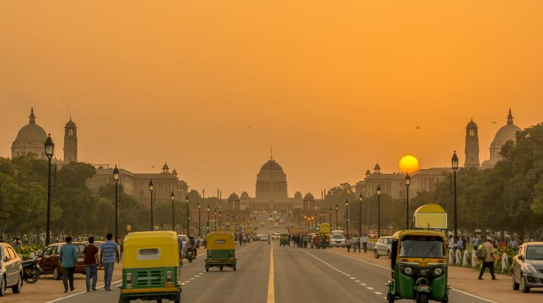 Sunset nearby the Rashtrapati Bhavan, the Presidential Residence, New Delhi, India.