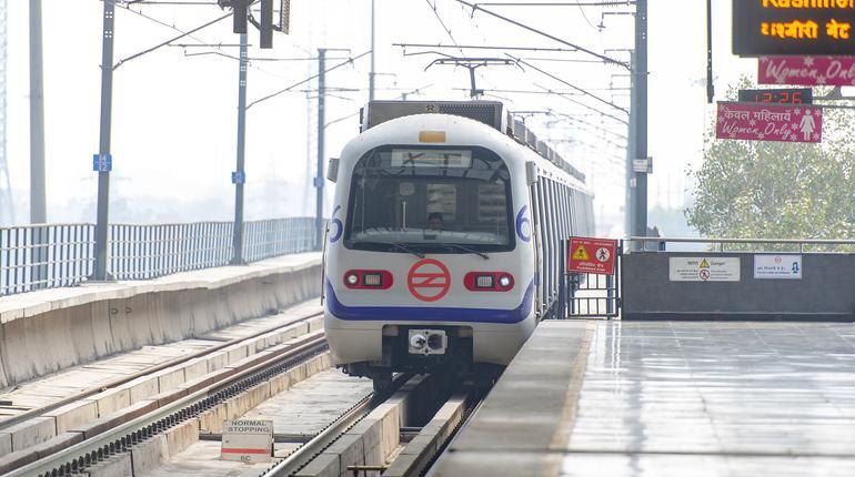 NEW DELHI - FEB 24: New Delhi Metro station and a modern Train on February 24. 2018 in India
