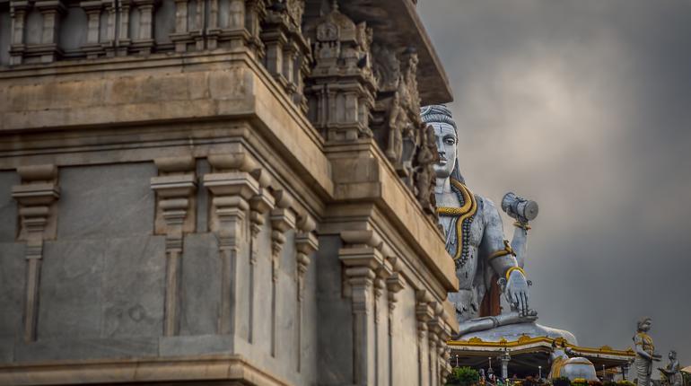 The massive Lord Shiva temple and surrounding area at Murdeshwar Temple, Karnataka, India