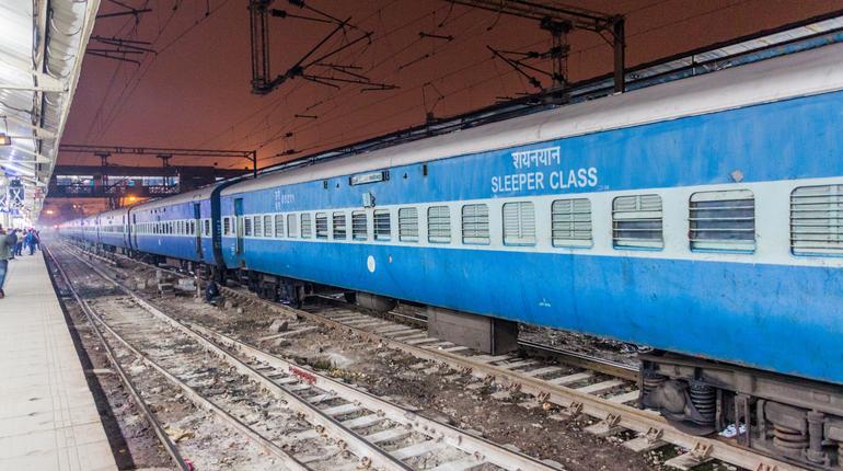 DELHI, INDIA - JANUARY 24, 2017: Train at Old Delhi Railway Station in Delhi, India.