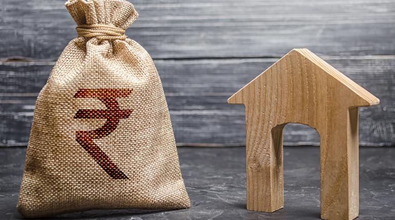 Indian rupee INR symbol money bag and house. Real estate purchase and investment. Affordable loan, mortgage. Taxes, rental income. rent or buy. Home budget. Maintenance of a residential building.
