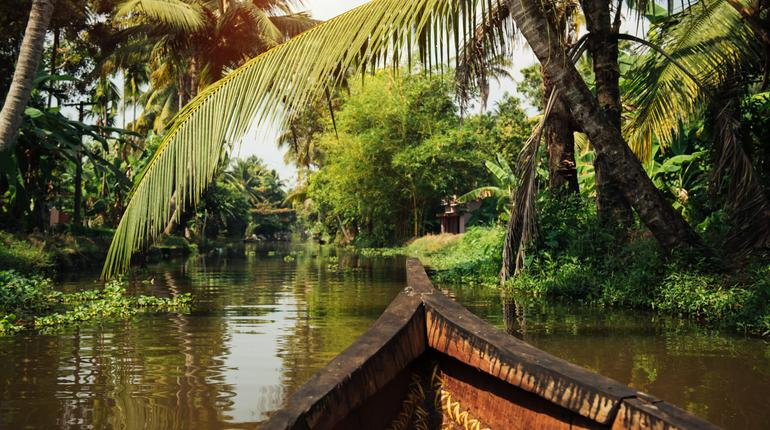 Traditional local boat on beautiful backwaters landscape with palm trees on background, Kerala, India
