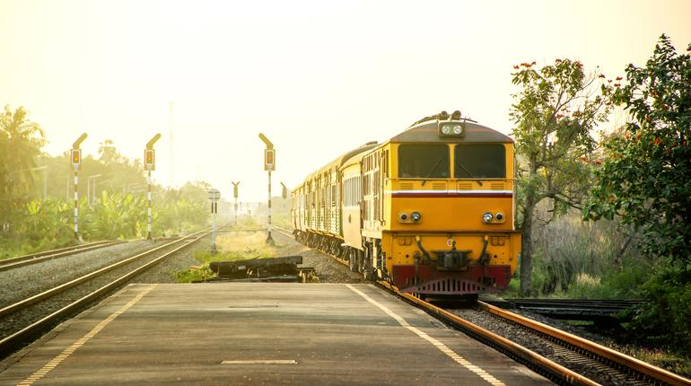 Retro vintage style image of Train station countryside provinces of Thailand.
