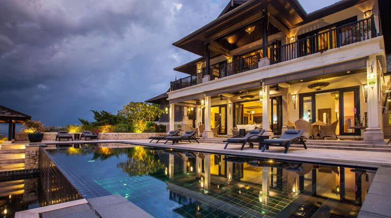 Luxury villa with big swimming pool interior outdoor