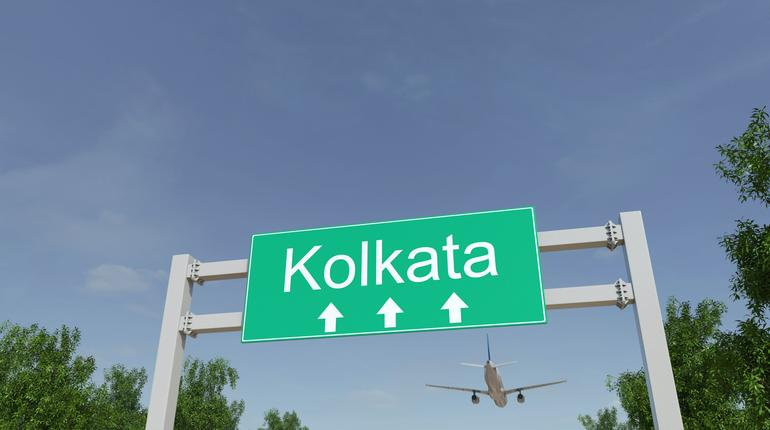Commercial airplane arriving to Kolkata airport. Travelling to India conceptual 3D