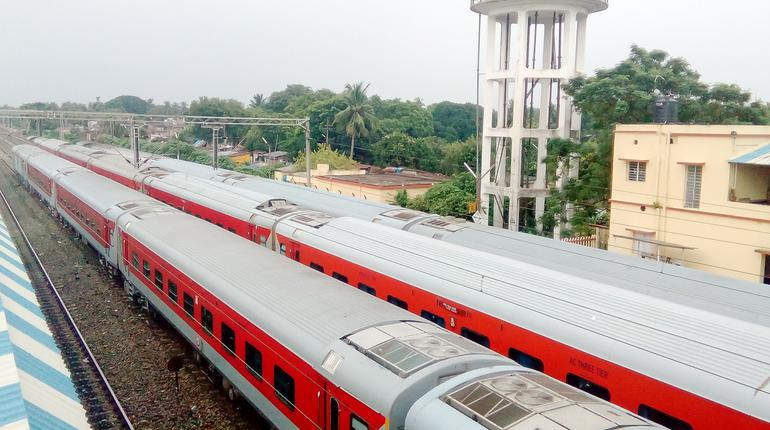 LHB passenger coaches of Indian Railways converted into quarantine/isolation wards for corona virus patients. High angel view. Mumbai, Central Railway, India, South Asia Pac. May 15, 2020