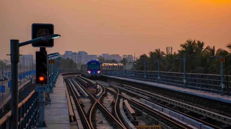 A view of Subway train of Kolkata East West Metro system at Salt Lake Sector V, Bidhannagar