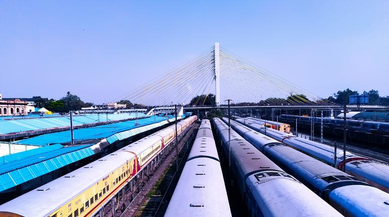beautiful scenery of Indian trains parked at railway station due to corona virus effect on India, skyline view