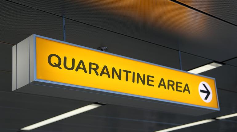 Airport sign with quarantine area written. Quarantine for travelers after covid pandemic, Travel ban restrictions
