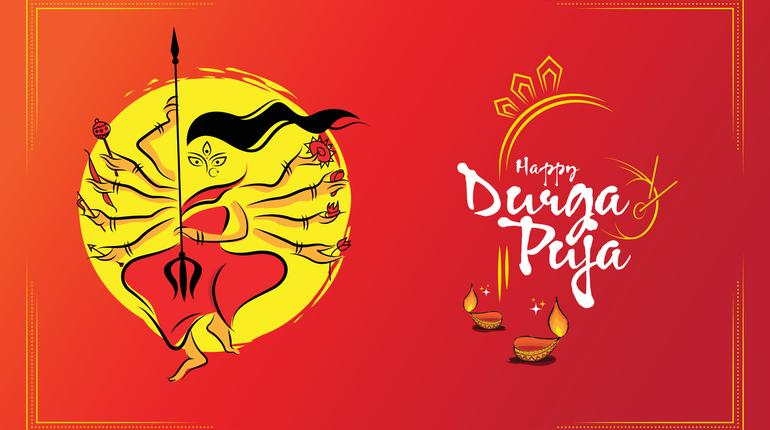 Happy Durga Puja Festival Background Template, Indian Religious Festival Durga Puja Background with Goddess Durga Illustration