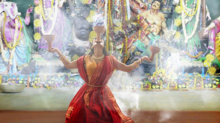 Bengali Women Performing Dhunuchi Dance On The Occasion Of Durga Puja
