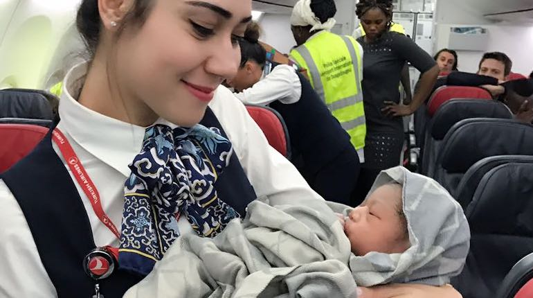 Baby born on a Turkish Airlines flight