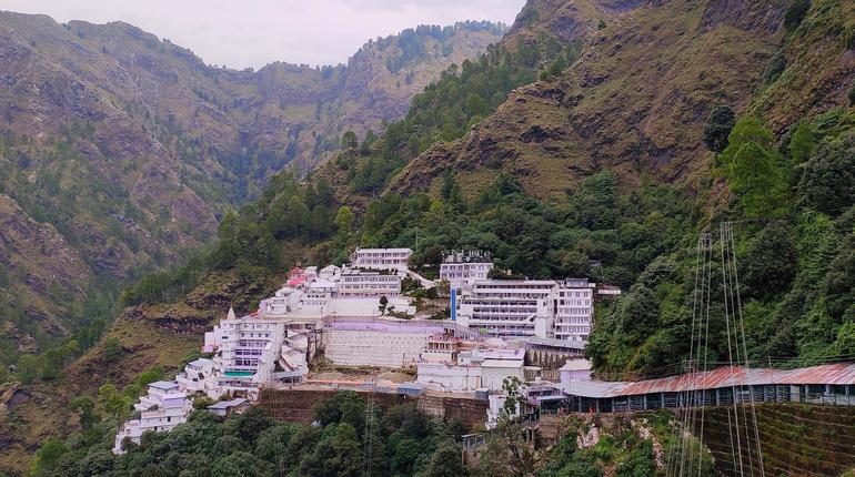 Aerial view of Mata Vaishno Devi temple in mountain Katra