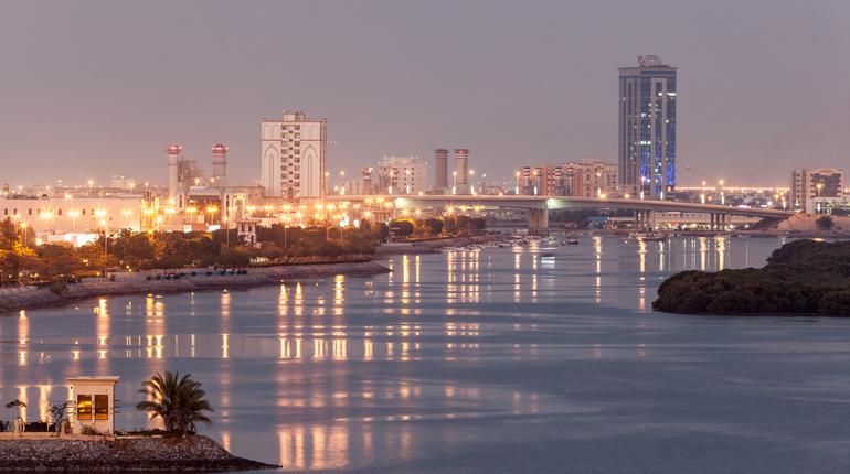 Ras Al Khaimah creek at dusk. Emirate of Ras Al Khaimah, United Arab Emirates