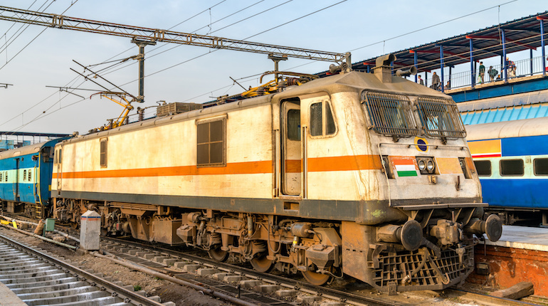 Electric Locomotive at New Delhi Railway Station. The capital of India