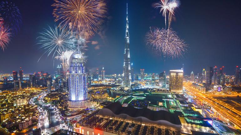 Fireworks display at town square of Dubai downtown, Dubai night celebrating view
