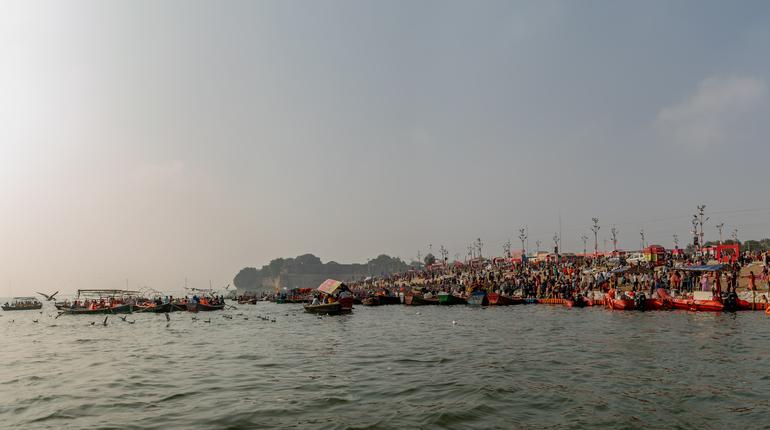 Kumbha Mela, Allahabad, Uttar Pradesh, India; 17-Feb-2019; riverfront of Triveni Sangam, river Ganges