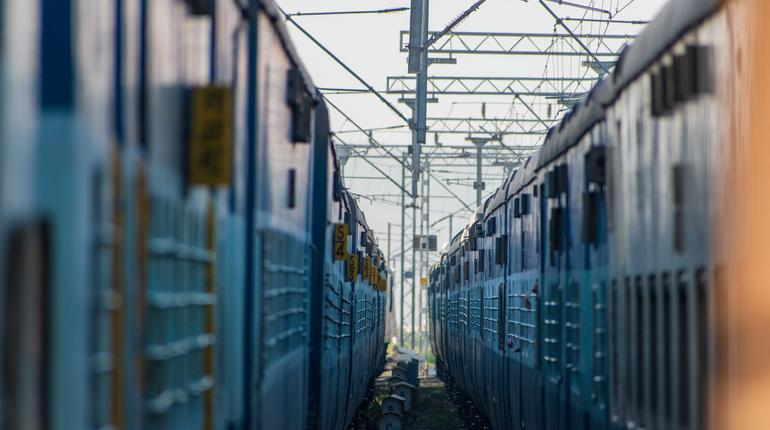 train in the station in india