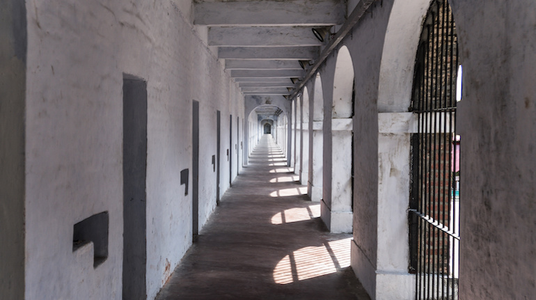 Corridor in a wing of the Port Blair Cellular Jail,