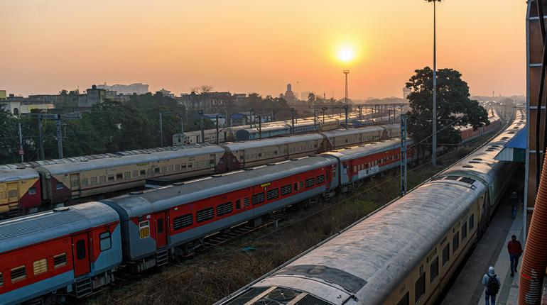 A view of express trains at a Junction Railway Station of Indian Railways system, Kolkata, India on February 2021