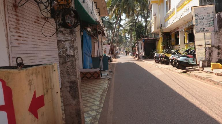 The streets of Agonda are empty as village shops are closed and locals as well as tourists stay indoors during the Coronavirus lockdown in South Goa