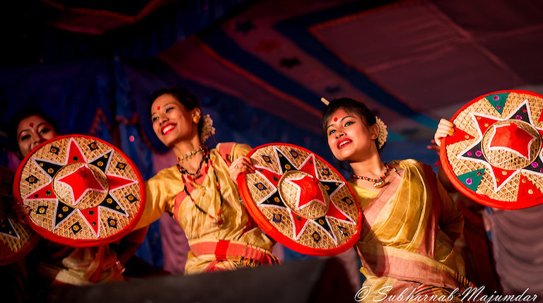 Female Bihu dancers at an event in Bengaluru