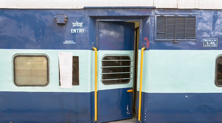 Indian Railway passenger coach entry of a 3 Tier Air Conditioned coach