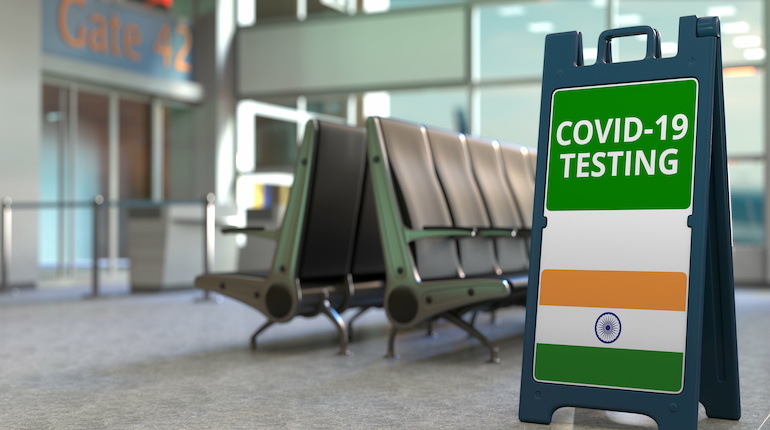 Covid testing at an Indian airport