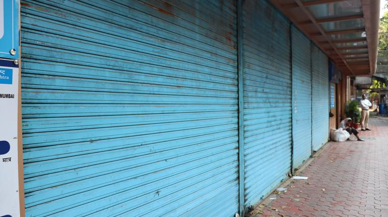 Mumbai, Maharastra/India- March 24 2020: All shops in the market are closed due to virus outbreak in the city.