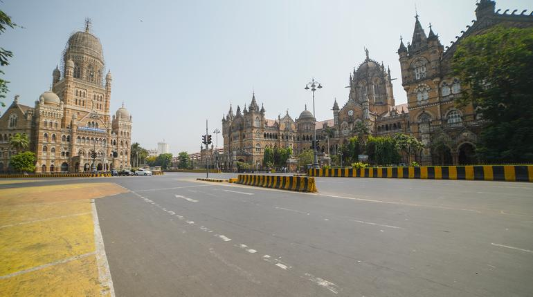 Empty Chhatrapati Shivaji Maharaj terminus CSTM Railway Station Mumbai during a lockdown Mumbai - India 04 10 2021