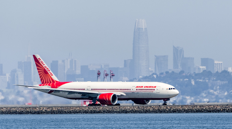 Air India aircraft preparing for take off at San Francisco International Airport
