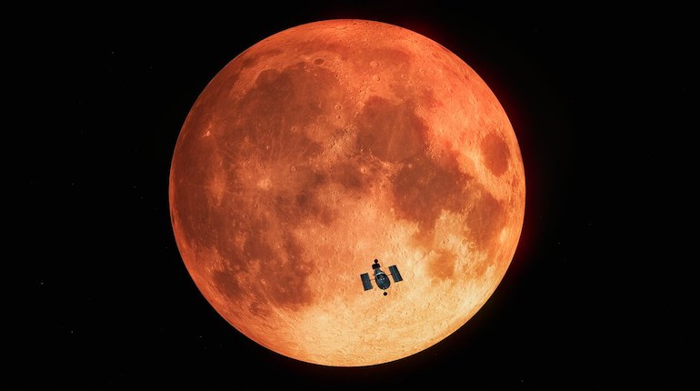 blood moon of lunar eclipse captured by hubble space telescope