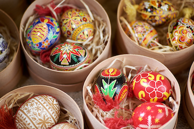 Eid eggs with traditional pattern