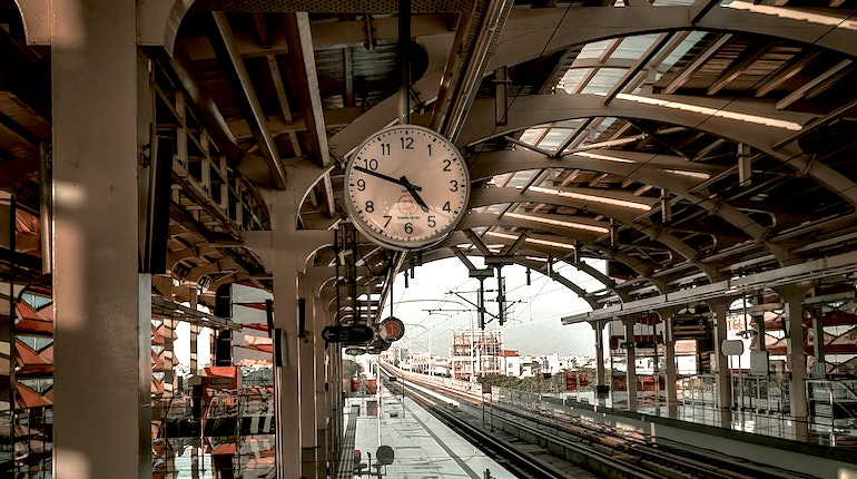Clock at an Indian train station