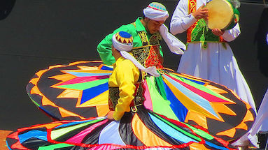 tanoura dancers whirling in a performance