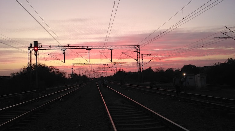Railway tracks at sunset in India